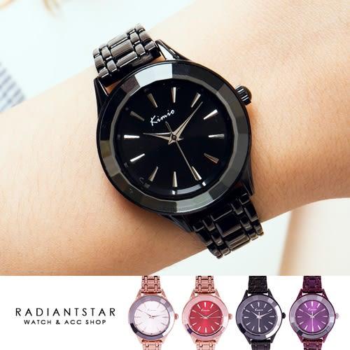 韓國KIMIO青春歌舞秀花切玻璃金屬鍊帶錶【WKI6301】璀璨之星☆