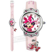 Disney 迪士尼 / MK-14069P / 米奇系列 米妮面板 蝴蝶結墜飾 兒童錶 卡通錶 皮革手錶 白x粉 29mm