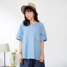 【慢。生活】簡約水洗單寧寬版上衣 12647 FREE淺藍色