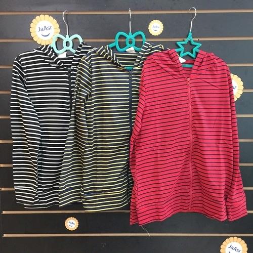 ☆棒棒糖童裝☆(0182)秋女裝休閒條紋拉鏈款連帽外套  親子 F  紅;藍;黃
