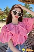小眾雪紡衫女短袖夏季薄款設計感復古泡泡袖襯衫洋氣寬鬆寬版短款上衣happybee