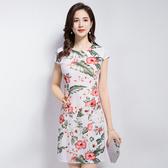 【免運】中年媽媽裝夏裝短袖連衣裙大碼婦女裝短袖花裙子夏裝