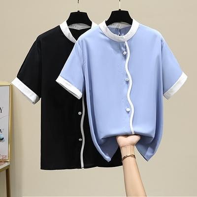 短袖襯衫 中大尺碼女裝襯衣XL-4XL2253加肥胖mm200斤寬松洋氣雪紡衫短袖襯衫F5026依佳衣