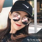 新款防紫外線太陽鏡女士網紅個性圓臉情侶偏光墨鏡韓版眼鏡潮 晴天時尚