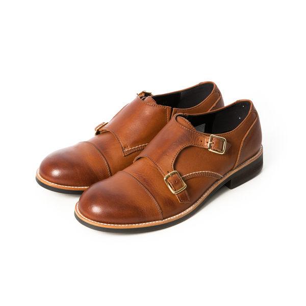 日本橫式孟克皮鞋 #51112咖啡 -ARGIS日本製手工皮鞋