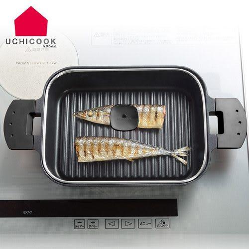 雙喬國際 日本製 《逸品軒》UCHICOOK第二代日本製水蒸氣式健康蒸煮燒烤盤[玻璃蓋]-黑 UCS16BK