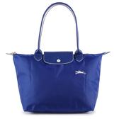 Longchamp Le Pliage刺繡LOGO長提把小型尼龍摺疊水餃包(鈷藍色)480208-P24