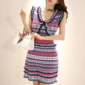 ✎﹏₯㎕ 米蘭shoe  韓版氣質V領修身條紋提花背心包臀針織連衣裙