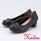 kadia .典雅圓釦真皮高跟包鞋9510 90 黑色