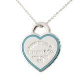 Tiffany Return to Tiffany™ 純銀心形藍色琺瑯飾面二段式項鍊(16吋 銀色)