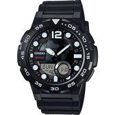 CASIO 卡西歐 10-YEAR BATTERY街頭玩酷雙顯腕錶-黑/47mm AEQ-100W-1AVDF / AEQ-100W-1A