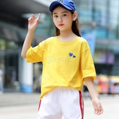女童T恤短袖夏裝 2020新款兒童運動體恤中大童小女孩學生洋氣上衣 小城驛站