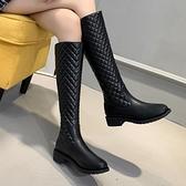 菱格不過膝長靴2021秋冬季新款女鞋防滑粗跟長筒靴子后拉鏈騎士靴 百分百