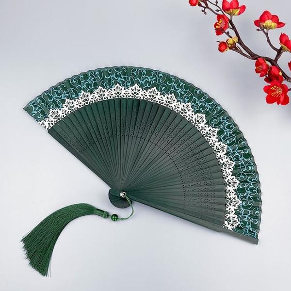 古風折扇女式6寸中國風漢服旗袍綠色女扇日式夏季隨身小跳舞蹈扇 怦然新品