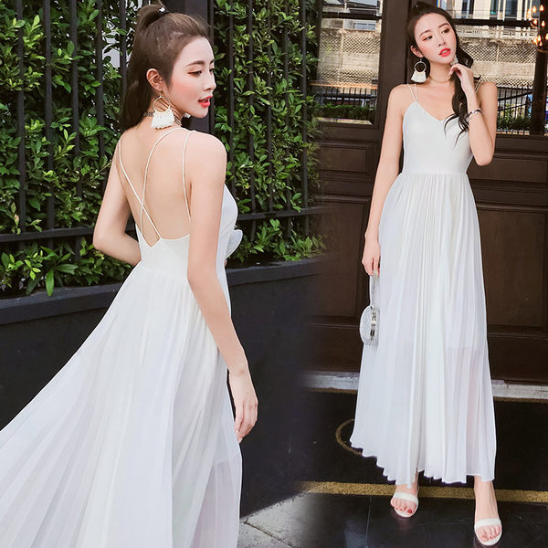 VK旗艦店 韓國風高腰度假裙旅拍輕婚紗長裙無袖洋裝