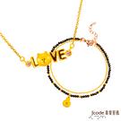 J'code真愛密碼 LINE我愛熊大黃金/水晶項鍊+真愛兔兔黃金/尖晶石手鍊