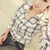 (全館一件免運)DE SHOP 韓系印花格子學生修身百搭翻領雪紡長袖襯衫(YY-766)