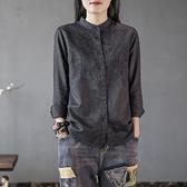亞麻衣女 棉麻襯衫女長袖文藝復古重工立領刺繡襯衫新款大碼打底衫上衣 艾莎