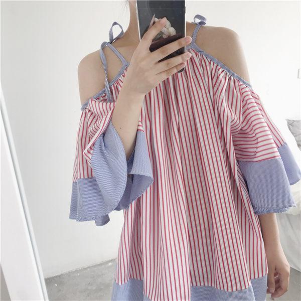 [超豐國際]條紋襯衫裙女裝夏大碼娃娃裙吊帶露肩喇叭袖連衣裙一1入