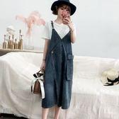 初心 韓國洋裝 【D8813】 加大尺碼 牛仔 吊帶裙 牛仔裙 背心裙洋裝 V領 背帶裙