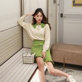 超殺29折 韓國風牛油果綠慵懶針織衫套裝長袖裙裝
