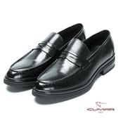 CUMAR 休閒皮鞋底 精選胎牛皮樂福鞋-黑胎牛色