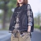 依多多 秋季新款韓版休閒寬鬆顯瘦百搭立領牛仔衣馬夾外套