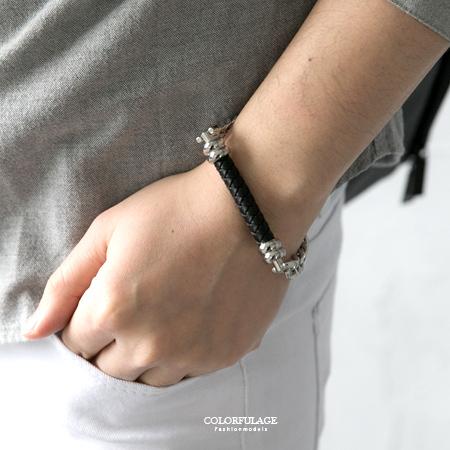手鍊 黑色編織皮革造型搭配鋼製鎖鍊手環 個性風格 質感百搭 柒彩年代【NA379】抗過敏抗氧化