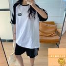 五分褲短袖t恤夏季兩件套運動套裝女百搭顯瘦【小狮子】