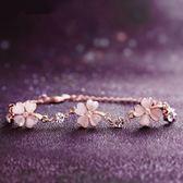 手鍊 粉色貓眼石幸運草微鑲鋯石 玫瑰金  手鍊