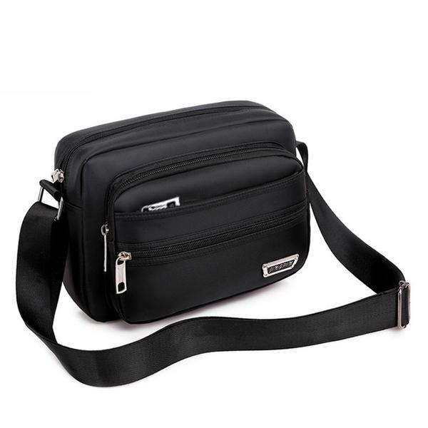 側背包 收錢側背包休閒斜背包男包防水背包做生意收錢包多層韓版男士背包 莎瓦迪卡