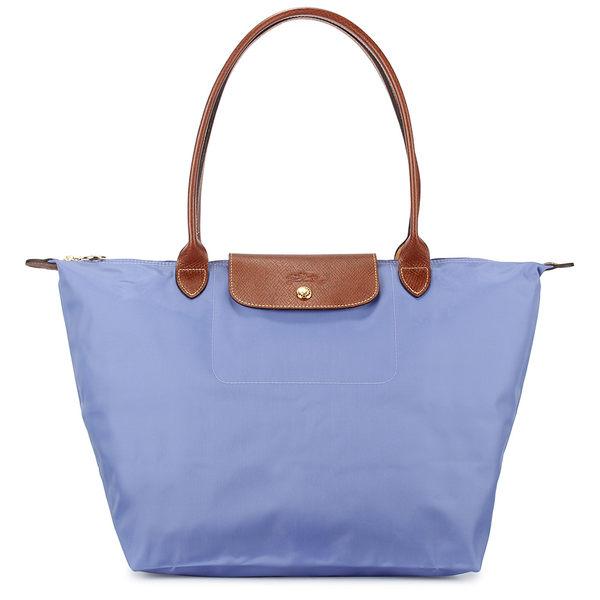 LONGCHAMP 經典長提把中型尼龍摺疊水餃包(淺藍紫色)480132-B40