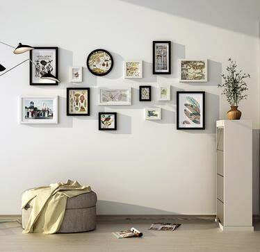高端實木照片牆現代簡約相片牆家居背景牆裝飾組合相框2164