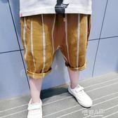 夏裝新款韓版男童薄款褲子兒童棉麻七分褲寶寶休閒中褲夏季潮  9號潮人館