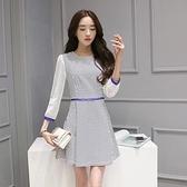 現貨M洋裝春新款韓版提花格子拼接收腰顯瘦七分袖連身裙17784