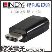 LINDY林帝 HDMI A公 轉 VGA母 迷你轉換頭(38194)