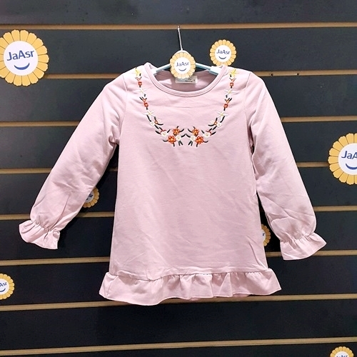 ☆棒棒糖童裝☆(A78550)秋冬女童粉繡花朵長袖上衣 5-13
