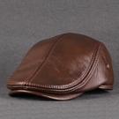 真皮帽子男士中老年人秋冬季頭層牛皮保暖休閒貝雷帽鴨舌帽前進帽  快速出貨