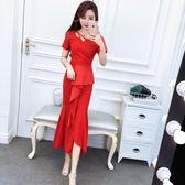 俏皮套裝女兩件套夏裝韓版氣質短袖T恤上衣 修身包臀不規則魚尾裙