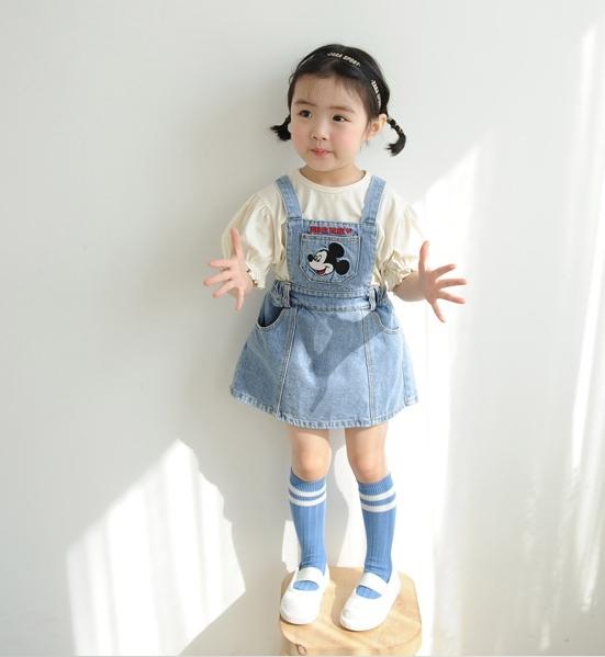 灰藍 口袋米奇大頭刺繡牛仔吊帶裙 連身裙 背心裙 丹寧 可愛 女童裝 女洋裝 秋冬洋裝