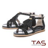 ★2018春夏新品★TAS鉚釘流蘇繫帶內增高後包涼鞋-經典黑
