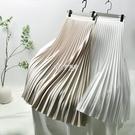 春夏款感仙女長裙顯瘦高腰A字中長款西裝裙風琴褶百褶半身裙