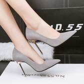 高跟鞋小清新高跟鞋細跟尖頭少女公主黑色單鞋 爾碩數位3c