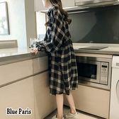 藍色巴黎 ★ 學院風 法蘭絨格紋寬鬆長袖襯衫 長版外套  【28647】