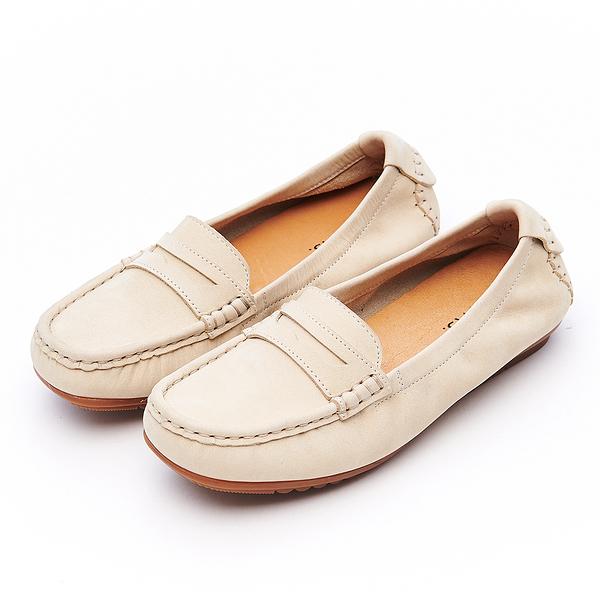 G.Ms. MIT系列-經典簡約縫線牛皮樂福休閒鞋-杏色