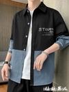 男生外套 襯衫男士秋季新款韓版潮流帥氣長袖襯衣休閒男裝秋裝上衣外套『極致男人』