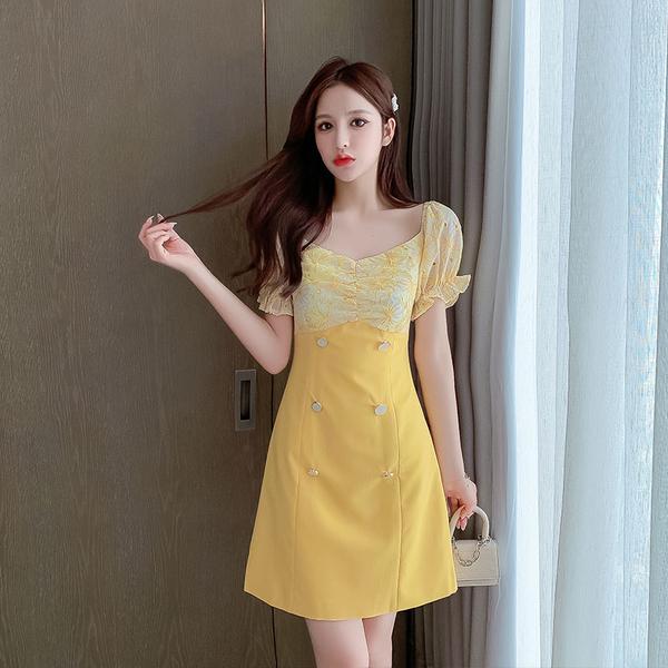 超殺29折 韓國風拼接假兩件排釦拼接碎花時尚短袖洋裝