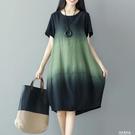 棉麻洋裝 夏季新款亞麻裙子文藝復古拼接撞色寬鬆大碼中長款棉麻短袖洋裝【果果新品】