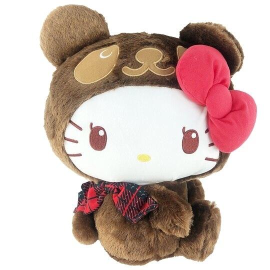 小禮堂 Hello Kitty 絨毛玩偶 絨毛娃娃 中型玩偶 布偶 (M 深棕熊裝) 4983164-11410