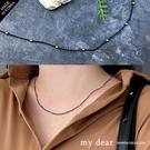 MD韓【A09200120】黑繩金圓珠項鍊-金